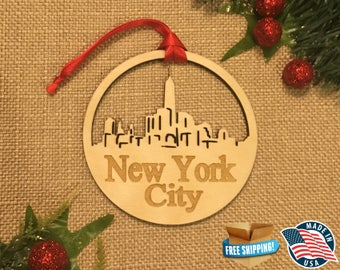 New York City *** Skyline Christmas Holiday Ornament ***