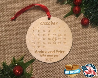 Personalized Engagement Calendar Ornament ** Couple Christmas ***Newlywed First Christmas ** Engagement gift **Wedding Gift**Save the date