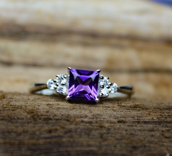 Holley blue and amethyst sterling silver halo ring,