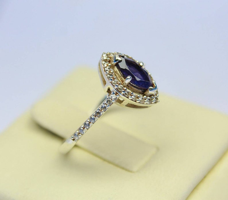 Sale low price Natural iolite  Engagement Ring 925 Sterling silver stamped,engagementWedding ring All sizes Ready to gift her.