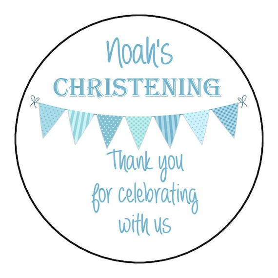 35x Personalised Blue Christening Party Thank You Envelope Seals Stickers 243