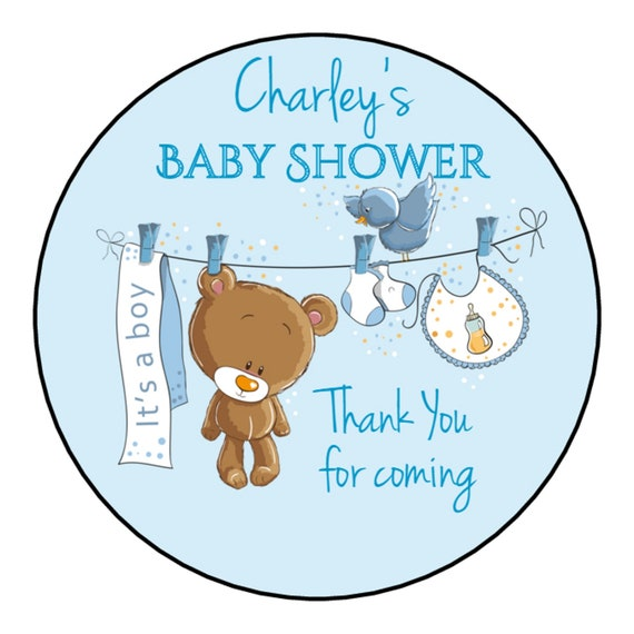 35 Blue Elephant Boy Cute Baby Shower Stickers Thank You Stickers Sweet Cones