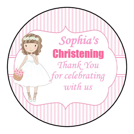 24 Personalised Christening Baptism Stickers Sweet Cone Sticker Labels 45mm