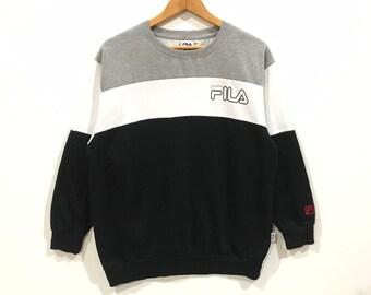 Vintage Fila big spell out logo stripe sweatshirt 54eeada6475f8