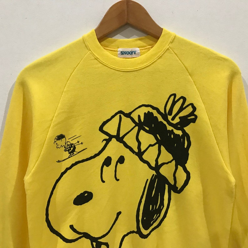 Rare !! vintage snoopy peanuts ana /'87 ana ski tour big logo sweatshirt