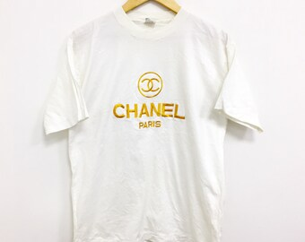 2384c20f Vintage 80s Chanel Boutique Gold Embroidery Logo Spell Out Size Medium