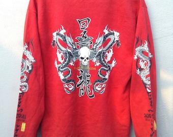 19047947156 Vintage Rare Dog Town Sweatshirts Black Dragon Full Print Dragon Nice  Design Great Condition Size Large