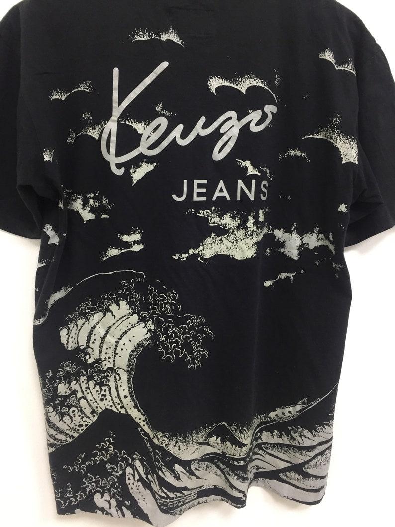 Vintage Kenzo Jeans Allover Print Waves Splash Tees Size Medium