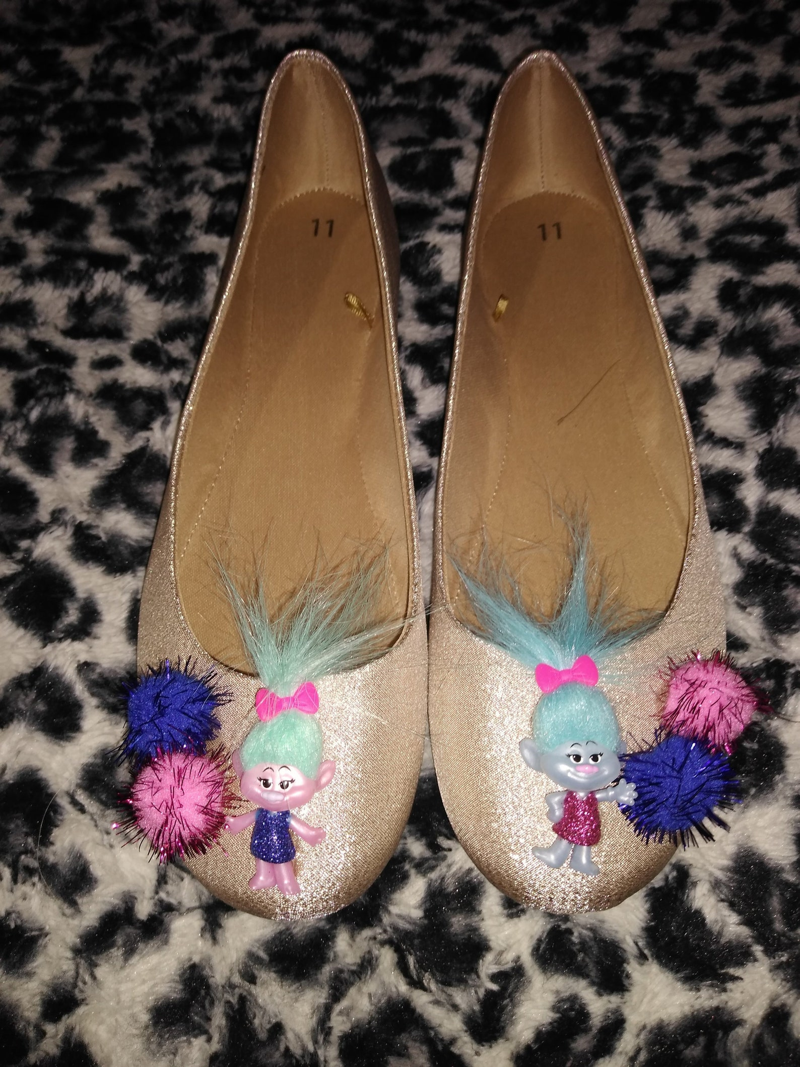 troll doll bling gold ballet flats shoes 11