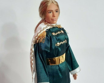 Prince or King suit for Ken. handmade clothes, barbie doll, 12 inch sport shirt,  Ken clothing queen soldier