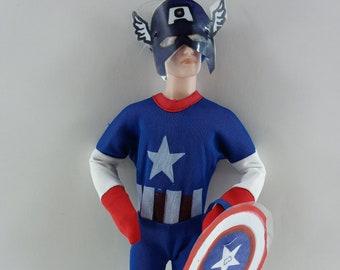 Halloween superhero costume for Ken. handmade clothes, America barbie doll, 12 inch sport shirt,  Ken clothing captain