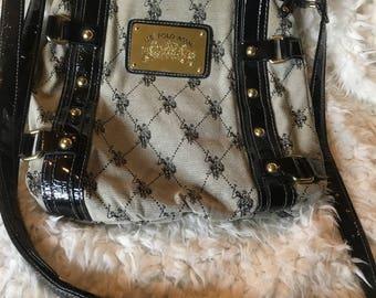 37d487a6c 1980s Vintage Ralph Lauren U.S. Polo Assn. Shoulder Purse HandBag Black  Gold Woven Polo Player Shoulder Strap