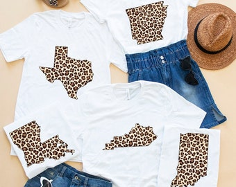 a781543e6812 Leopard Printed State Outline Graphic Tee White..Preppy Style..Custom State  Shirt..State Pride..Leopard Print State Shirt..Cheetah Print