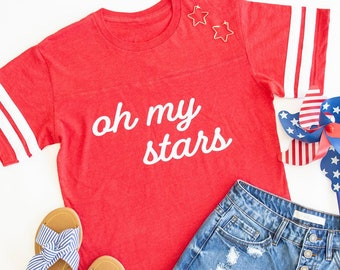 a70578040 Oh My Stars Varsity Graphic Tee..4th of July T-Shirt..Preppy Graphic T-Shirt..I  Love The USA..Stars and Stripes..Made In America