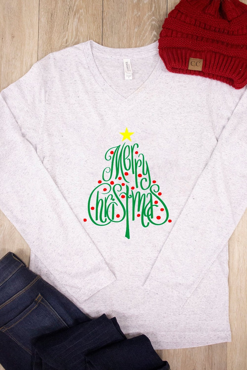823ad483815 Merry Christmas Tree V-Neck Graphic Tee..Cute Christmas