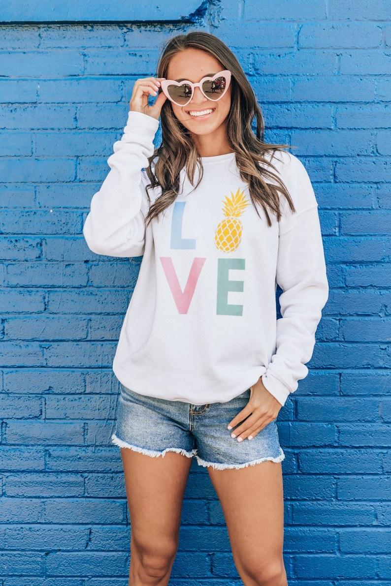 Pineapple Love Multi Graphic Sweatshirt..Vacation Sweatshirt..Spring Break..Vacation Vibes..Island Time..Rainbow Sweatshirt..Pineapple