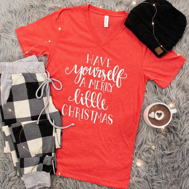 d93ca3bd3e0 A Merry Little Christmas Script V-Neck Graphic Tee Red..Cute