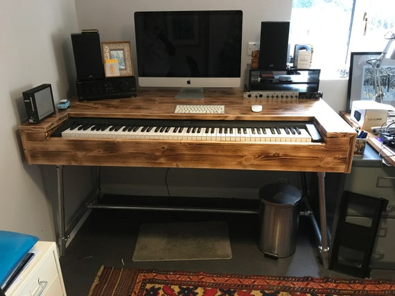 Composers Desk Industrial Style Studio Workstation Music Production Desk Gaming Table Office Desk Keyboard Stand Table