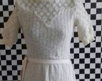 Cream vintage dress from the 70's by Keynote - S/M