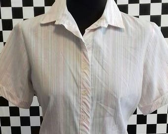 Pink and Blue striped summer blouse - medium