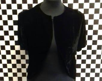 Black velvet handmade shrug/bolero jacket - medium