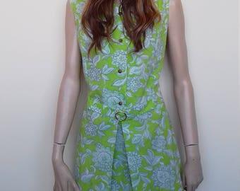 Super little green summer vintage dress - size 12/14