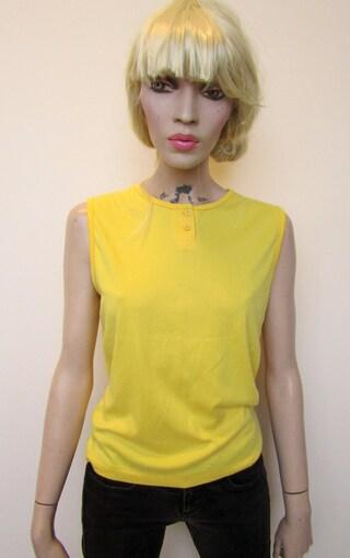 Pretty vintage yellow vest top size medium