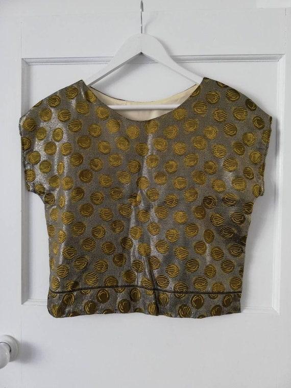 Metalic brocade top from the 1960's - medium