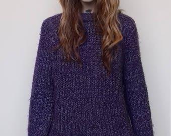 Chunky knit purple flecked vintage jumper (free size)