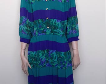 Super sheer blue and green summer dress from the 80's - size 16
