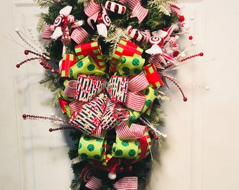 christmas swag peppermint swag christmas door swag peppermint door swag christmas door decor frontdoor christmas swag evergreen swag