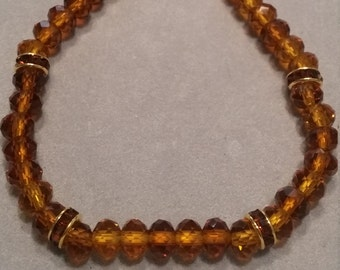 Amber Rhinestone & Glass Beaded Bracelet