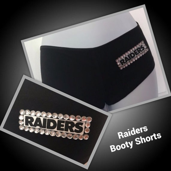 Oakland Raiders Bling Thong Pantie-RaidersLingerie-nfllingerie-Raidersunderwear-sexyraidersthong-raidersforher-raiderspantie-lingerieraiders