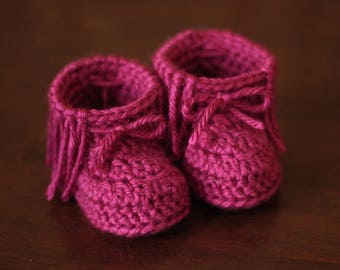 Crochet Fringed Baby Moccasins