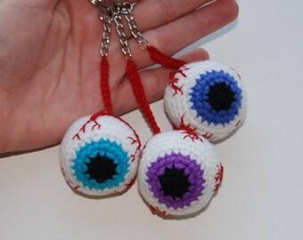 crochet keychain Eyeball Crochet Keychain Halloween Party Handmade