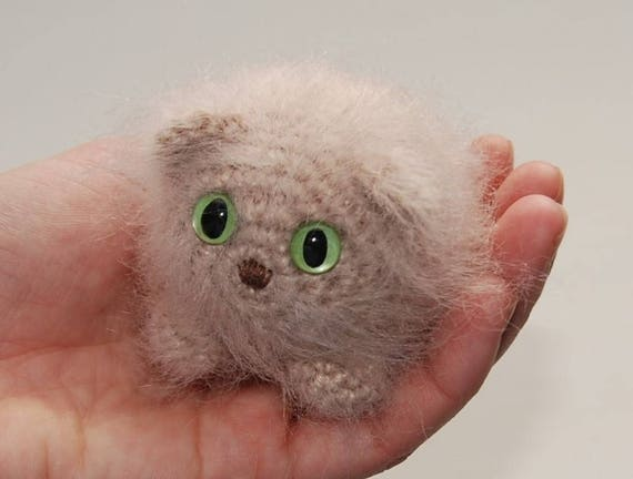 Pluizig Kitten Amigurumi Haak Kat Crème Kat Gele Ogen Groene Etsy