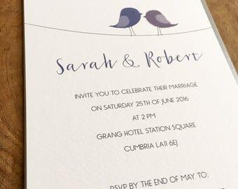 Love birds wedding invitations and matching RSVP