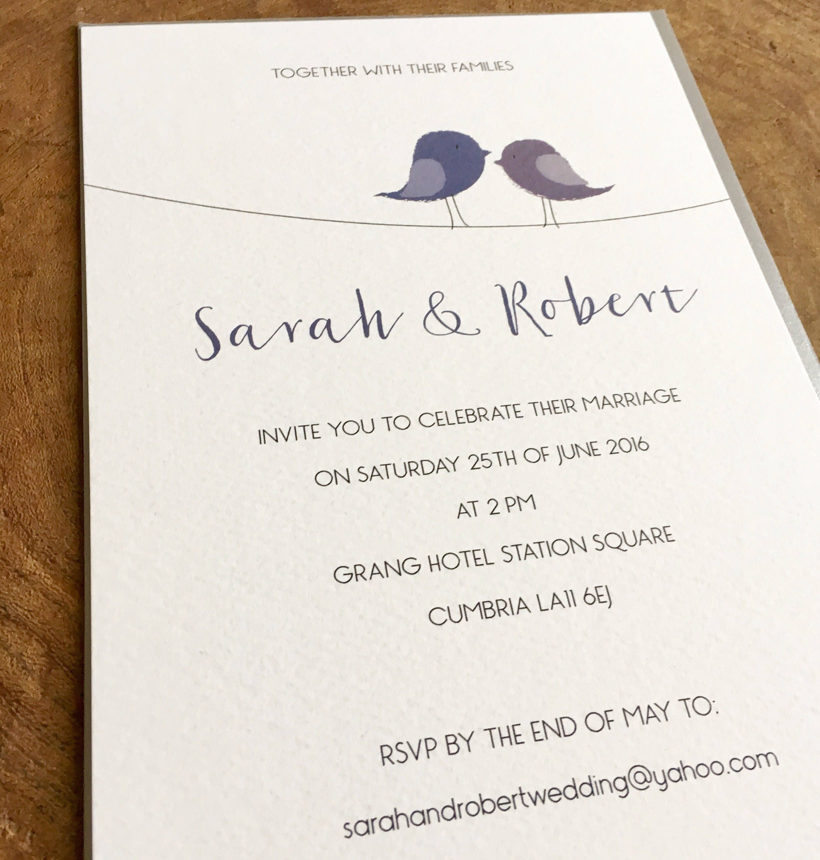 Printable Personalised Wedding Invitation And Matching