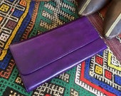 Purple Leather Wallet, Handmade Moroccan Leather Wallet, Minimalist Leather Wallet, Women 39 s Wallet