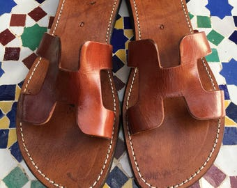 brown leather slides etsy