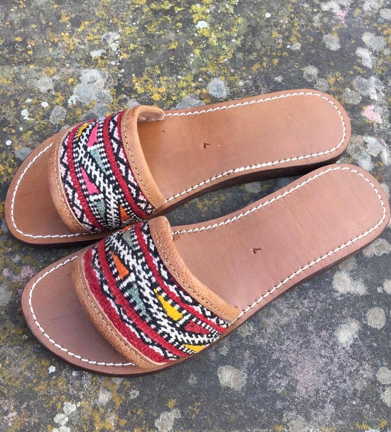 218b276bb6e6 Multicolored Kilim Leather Slides Handmade Moroccan leather
