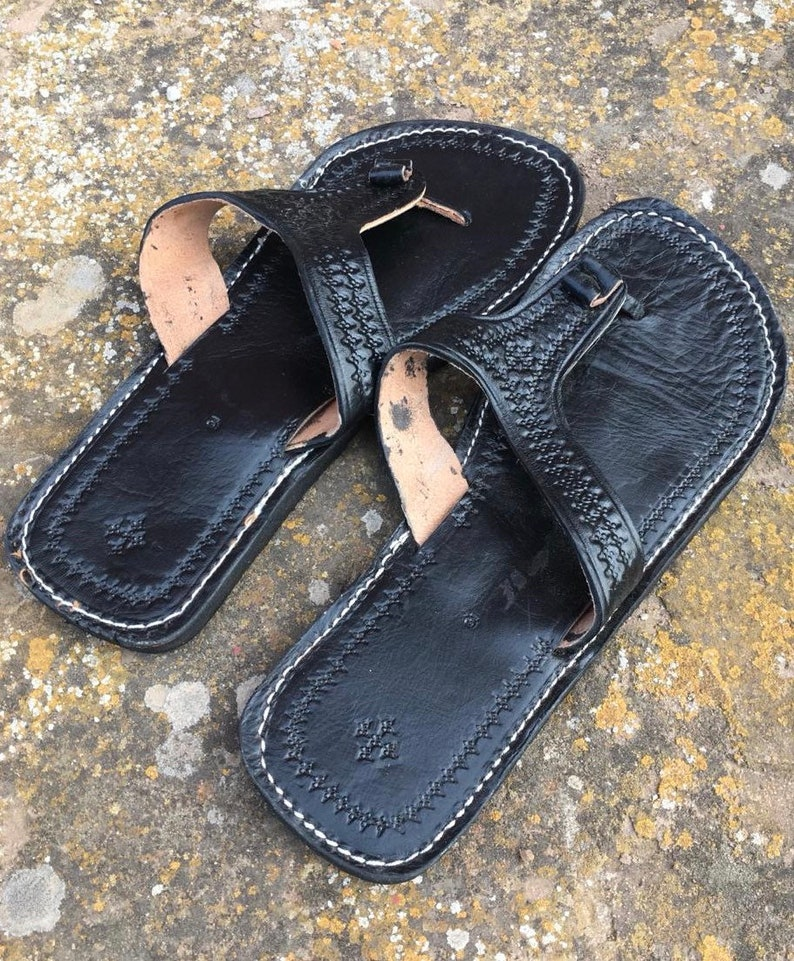 6921a75356f7 Moroccan leather Thong Sandals Handmade Leather Flip Flop