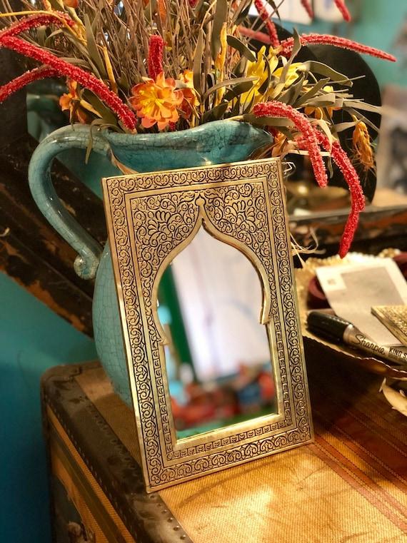 Arabesque Wall Mirror w//Doors Moroccan Hand Painted Handmade Home Decor Black