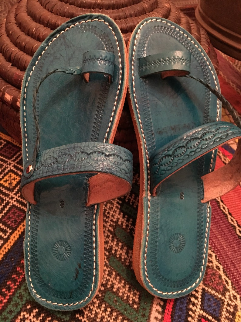 f2c42bce8b63 Moroccan leather Sandals Handmade Leather Sandals Turquoise