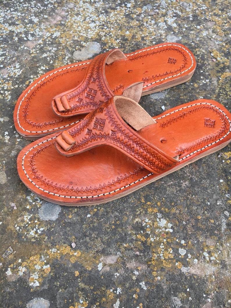 8da1b620bb50e Moroccan leather Thong Sandals, Handmade Leather Flip Flop Sandals, Brown  Leather Sandals, Women Leather Sandals, Thong Sandals, Flip Flops