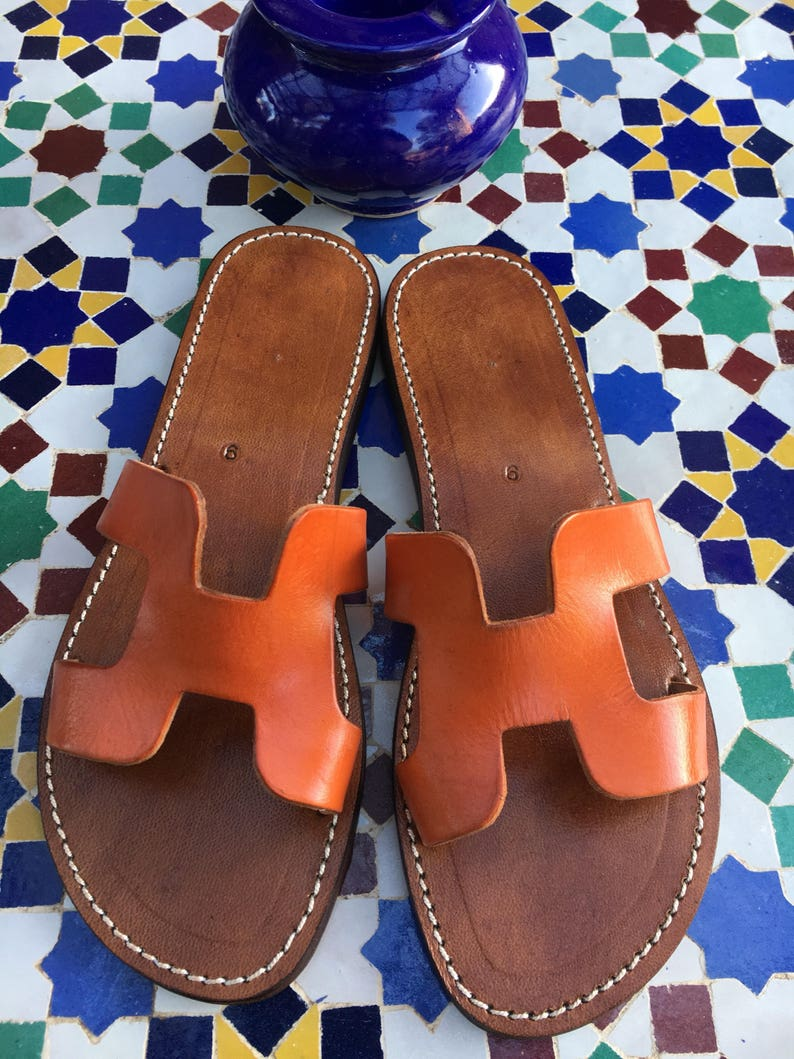 6c7155d5bb5ee Moroccan Handmade Orange Leather Sandals Slides Slip On Sandals
