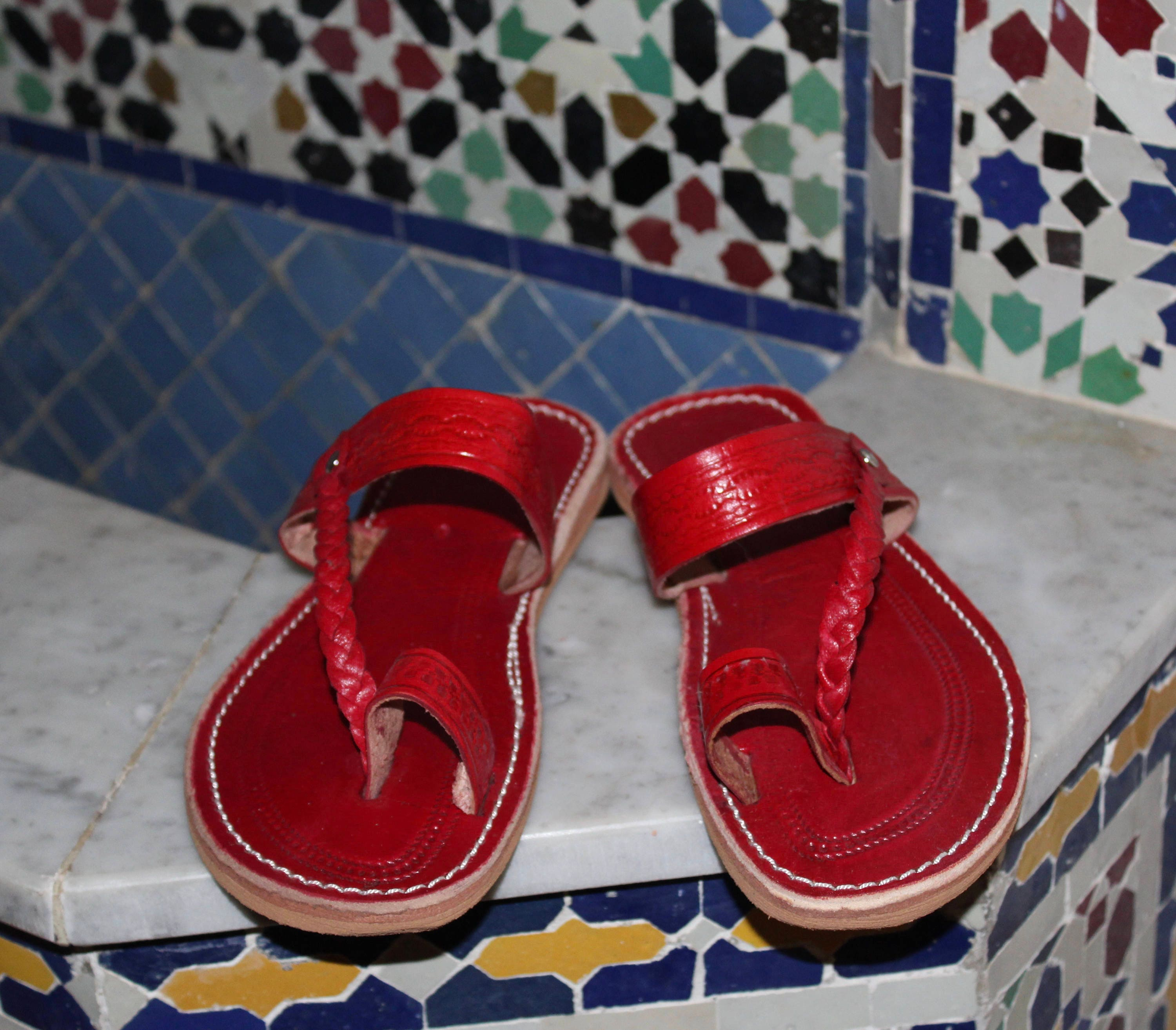 3bc96ce9d23c9 Moroccan Red leather Sandals, Handmade Leather Sandals, Red Leather ...