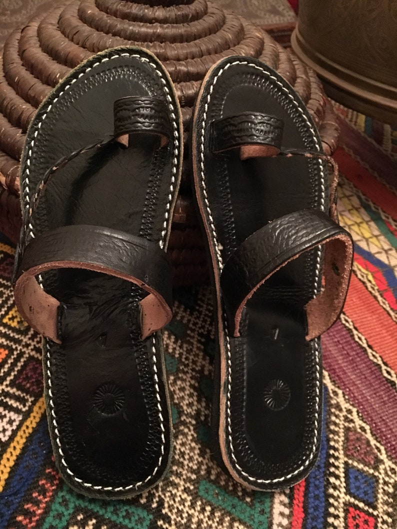 1a9bee9ed295 Moroccan leather Sandals Handmade Leather Sandals Black