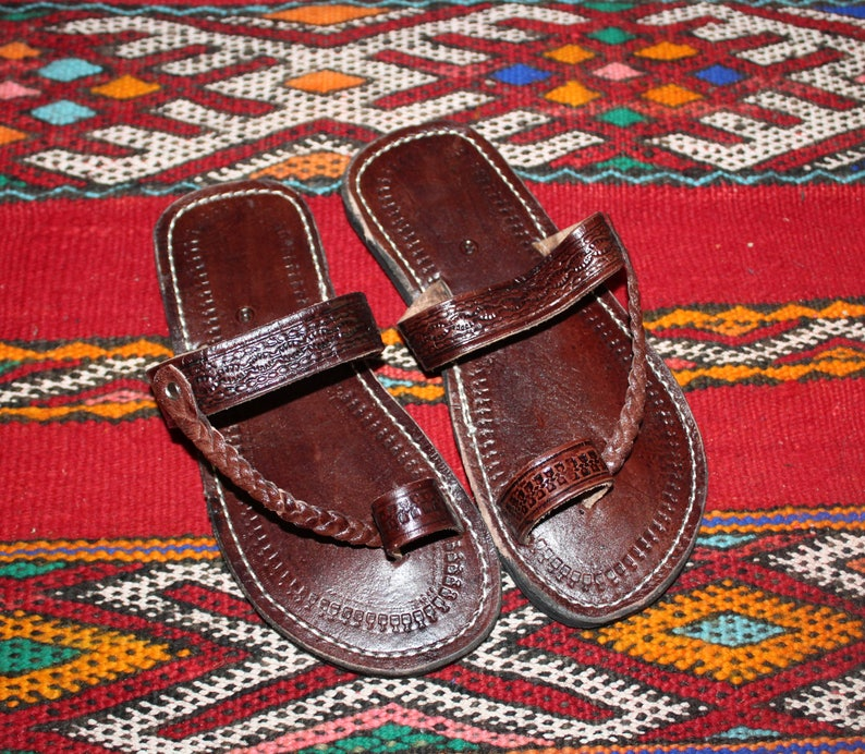 61093d87989a Moroccan leather Sandals Handmade Leather Sandals Brown
