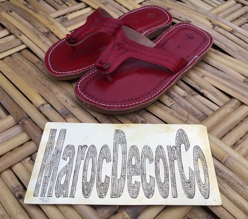 ee68de33dc2f4 Moroccan Red leather Thong Sandals, Handmade Leather Flip Flop ...
